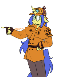 Size: 711x945 | Tagged: safe, artist:redxbacon, oc, oc only, oc:logical leap, anthro, unicorn, ace attorney, capelet, clothes, cosplay, costume, dai gyakuten saiban, deerstalker, female, fingerless gloves, glasses, gloves, hat, mare, pointing, sherlock holmes, simple background, solo, white background