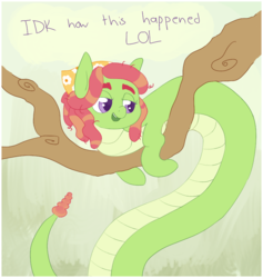 Size: 827x873 | Tagged: safe, artist:tilling-tan, tree hugger, lamia, monster pony, original species, implied transformation, lamiafied, monster mare, rattle, species swap, text, tree branch