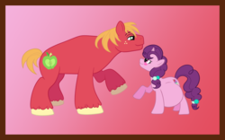Size: 1027x639 | Tagged: safe, artist:catross, big macintosh, sugar belle, earth pony, pony, unicorn, belly, big belly, blushing, female, freckles, looking at each other, male, mare, missing accessory, pregnant, raised hoof, shipping, size difference, smiling, stallion, straight, sugarmac
