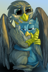 Size: 1584x2376 | Tagged: safe, artist:firefanatic, gabby, gallus, griffon, comforting, crying, cuddling, digital art, female, friendship, hug, male, paw pads, smiling, story included, toe beans