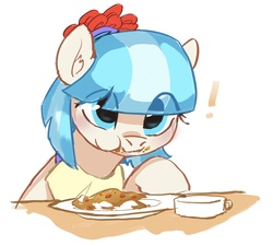 Size: 1513x1360 | Tagged: safe, artist:luciferamon, coco pommel, earth pony, pony, cocobetes, curry, cute, eating, eye clipping through hair, female, food, mare, solo