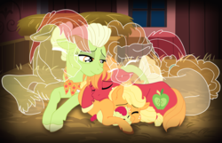 Size: 12324x7948 | Tagged: safe, artist:faitheverlasting, apple bloom, applejack, big macintosh, bright mac, granny smith, pear butter, ghost, absurd resolution, apple family, apple siblings, baby, baby apple bloom, brother and sister, colt big macintosh, cuddling, father and daughter, father and son, female, filly, filly applejack, grandmother and grandchild, grandmother and granddaughter, grandmother and grandson, hay, male, mother and child, mother and daughter, mother and daughter-in-law, mother and son, prone, sad, siblings, sisters, young granny smith, younger