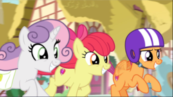 Size: 1669x941 | Tagged: safe, screencap, apple bloom, scootaloo, sweetie belle, growing up is hard to do, spoiler:s09e22, cropped, galloping, happy, helmet, older, older apple bloom, older cmc, older scootaloo, older sweetie belle, saddle bag, scooter, smiling, trio