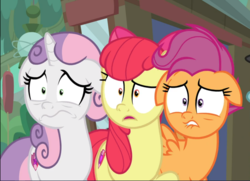 Size: 1176x852 | Tagged: safe, screencap, apple bloom, scootaloo, sweetie belle, earth pony, pegasus, pony, unicorn, growing up is hard to do, spoiler:s09e22, bow, cropped, cutie mark crusaders, female, floppy ears, hair bow, mare, older, older apple bloom, older cmc, older scootaloo, older sweetie belle, open mouth, scared, shrunken pupils, trio, wavy mouth