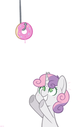 Size: 800x1400 | Tagged: safe, artist:higgly-chan, sweetie belle, pony, unicorn, bait, blushing, cute, diasweetes, donut, eyes on the prize, female, filly, food, hook, no pupils, open mouth, reaching, simple background, solo, white background