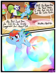 Size: 3500x4500 | Tagged: safe, artist:becauseimpink, rainbow dash, rarity, pegasus, pony, unicorn, comic:transition, comic, cutie mark, dialogue, elusive, female, filly, filly rainbow dash, flying, grin, male, open mouth, rainbow blitz, rainbow trail, rule 63, sitting, smiling, sonic rainboom, stallion, transgender, unshorn fetlocks, younger
