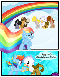 Size: 3500x4500 | Tagged: safe, artist:becauseimpink, dumbbell, gilda, hoops, quarterback, rainbow dash, griffon, pegasus, pony, comic:transition, cloud, colt, comic, dialogue, dumb belle, female, filly, filly rainbow dash, flying, grin, guilder, handshake, male, on a cloud, one eye closed, rainbow trail, raised hoof, rule 63, smiling, surprised, transgender, wink, younger