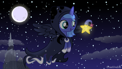 Size: 800x457 | Tagged: safe, artist:creativeli3, princess luna, spirit of hearth's warming yet to come, twinkle wish, alicorn, pony, a hearth's warming tail, twinkle wish adventure, cute, female, filly, full moon, hnnng, hoof shoes, luna day, lunabetes, moon, night, sleeping cap, woona, younger