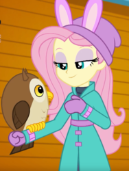 Size: 771x1027 | Tagged: safe, screencap, fluttershy, bird, owl, equestria girls, equestria girls series, holidays unwrapped, spoiler:eqg series (season 2), chad (owl), clothes, coat, cropped, cute, hat, mittens, self-storage facility, solo, winter break-in, winter coat, winter outfit
