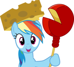 Size: 3300x3000 | Tagged: safe, artist:cloudyglow, rainbow dash, pegasus, pony, pinkie pride, .ai available, cheese, cheese hat, edam, female, food, hat, high res, mare, simple background, smiling, solo, transparent background, vector