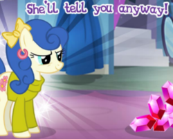 Size: 423x339 | Tagged: safe, blueberry curls, bubblegum blossom, earth pony, pony, cropped, ear piercing, earring, gameloft, gem, jewelry, meme, piercing, ribbon, solo, wow! glimmer