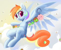 Size: 3624x3000 | Tagged: safe, artist:dimfann, rainbow dash, parasprite, pegasus, pony, series:pony re-watch, swarm of the century, armpits, cutie mark, dock, female, holding a pony, le lenny face, looking at you, mare, solo, uwu