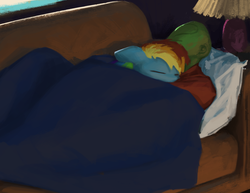 Size: 1296x1000 | Tagged: safe, alternate version, artist:redruin01, rainbow dash, oc, oc:anon, human, pegasus, pony, comfy, couch, painting, under blanket