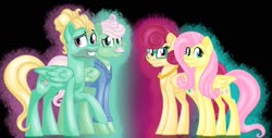 Size: 1600x814 | Tagged: safe, artist:missmele-madness, fluttershy, gentle breeze, posey shy, zephyr breeze, pony, brother and sister, family, female, husband and wife, male, siblings