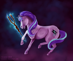 Size: 3000x2500 | Tagged: safe, artist:tirramirr, starlight glimmer, pony, unicorn, equal cutie mark, glowing horn, hoers, horn, s5 starlight, solo, staff, staff of sameness