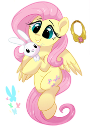 Size: 591x827 | Tagged: safe, artist:colorfulcolor233, part of a set, angel bunny, fluttershy, butterfly, pegasus, pony, cute, duo, element of kindness, female, mare, shyabetes, simple background, white background