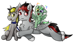Size: 1500x860   Tagged: safe, artist:jesterpi, oc, oc only, oc:broken flare, oc:jester pi, oc:silver haste, dracony, dragon, hybrid, pegasus, pony, vampire, vampony, 2020 community collab, derpibooru community collaboration, collar, cute, ear down, family, fluffy, friends, glowing, happy, horn, joy, leash, lying down, male, party, pony pet, red and black oc, simple background, sitting, size difference, smiling, smirk, spiked collar, together, tongue out, transparent background, wings