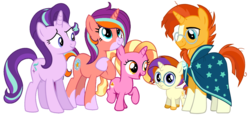 Size: 1280x595 | Tagged: safe, artist:mlptmntdisneykauane, luster dawn, starlight glimmer, sunburst, pony, unicorn, family, female, luster dawn is starlight's and sunburst's daughter, male, offspring, parent:starlight glimmer, parent:sunburst, parents:starburst, shipping, starburst, straight