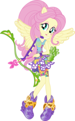 Size: 703x1137 | Tagged: safe, artist:sugar-loop, fluttershy, human, equestria girls, friendship games, archery, arrow, bow (weapon), bow and arrow, box art, clothes, looking at you, ponied up, simple background, solo, sporty style, transparent background, vector, weapon, wings