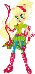 Size: 612x1305 | Tagged: safe, artist:sugar-loop, applejack, human, equestria girls, friendship games, archery, arrow, bow (weapon), bow and arrow, box art, clothes, female, looking at you, ponied up, pony ears, simple background, solo, sporty style, transparent background, vector, weapon