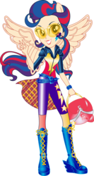 Size: 653x1223 | Tagged: safe, artist:sugar-loop, indigo zap, human, equestria girls, friendship games, clothes, glasses, goggles, helmet, looking at you, motorcross, motorcross outfit, motorcycle helmet, peace sign, ponied up, simple background, solo, sporty style, transparent background, vector, wings