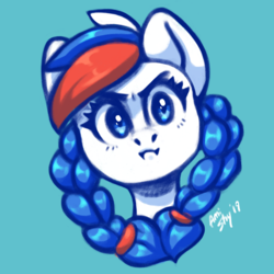 Size: 2048x2048 | Tagged: safe, artist:amishy, oc, oc:marussia, pony, bust, nation ponies, russia, solo