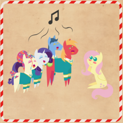 Size: 2000x2000 | Tagged: safe, anonymous artist, big macintosh, fluttershy, rarity, toe-tapper, torch song, pony, series:12 days of hearth's warming, series:fm holidays, 12 days of christmas, big eyes, blush sticker, blushing, border, christmas, clothes, cute, eyes closed, female, fluttermac, hearth's warming, holiday, lidded eyes, looking at each other, male, music notes, pointy ponies, ponytones, ponytones outfit, shipping, shyabetes, singing, sitting, smiling, straight, sweater, texture
