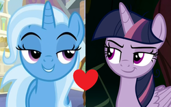 Size: 1106x694 | Tagged: safe, edit, edited screencap, screencap, mean twilight sparkle, trixie, alicorn, pony, unicorn, a horse shoe-in, the mean 6, bedroom eyes, clone, female, heart, lesbian, mare, mean twixie, shipping, shipping domino, twixie