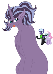 Size: 1538x2160 | Tagged: safe, artist:elhybridtrash, lavender essence, rolling thunder, oc, oc:fizzy iris, earth pony, pegasus, pony, unicorn, bedroom eyes, blank flank, chest fluff, clothes, collar, ear fluff, eye scar, eyeshadow, female, freckles, headband, lavender thunder, lesbian, magical lesbian spawn, makeup, mare, offspring, open mouth, parent:lavender essence, parent:rolling thunder, parents:lavender thunder, raised hoof, scar, shipping, simple background, tongue out, torn clothes, uniform, washouts uniform, white background