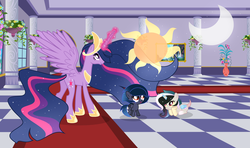 Size: 3879x2293 | Tagged: safe, artist:velveagicsentryyt, twilight sparkle, oc, oc:moonlight sonata, oc:mysterilestia, alicorn, hybrid, pony, spoiler:s09e26, base used, cousins, draconequus hybrid, female, filly, interspecies offspring, magic, offspring, parent:discord, parent:king sombra, parent:princess celestia, parent:princess luna, parents:dislestia, parents:lumbra, princess twilight 2.0, twilight sparkle (alicorn)