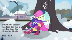 Size: 1280x720 | Tagged: safe, edit, edited screencap, screencap, bon bon, lyra heartstrings, sweetie drops, equestria girls, equestria girls series, holidays unwrapped, spoiler:eqg series (season 2), bible verse, hug, melodrama, melodramatic, overdramatic, protecting, quote, religion, saving private ryan, snowball fight, text, text edit, tree, you know for kids