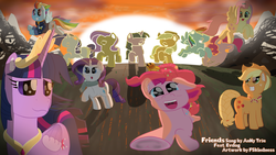 Size: 3840x2160 | Tagged: safe, artist:fskindness, applejack, fluttershy, pinkie pie, rainbow dash, rarity, twilight sparkle, alicorn, earth pony, pegasus, pony, unicorn, the last problem, end of ponies, inspired, inspired by another artist, mane six, older, older applejack, older fluttershy, older mane six, older pinkie pie, older rainbow dash, older rarity, older twilight, princess twilight 2.0, silhouette, twilight sparkle (alicorn)