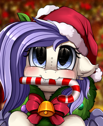 Size: 1446x1764 | Tagged: safe, artist:pridark, oc, oc:star violet, bat pony, pony, bat pony oc, bell, blushing, candy, candy cane, christmas, commission, cute, food, hat, holiday, mouth hold, ocbetes, pridark's christmas ponies, santa hat, solo, wreath, ych result