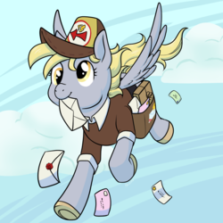 Size: 1200x1200 | Tagged: safe, artist:housho, derpy hooves, pegasus, pony, cloud, cute, derpabetes, female, flying, letter, mailmare, mailmare uniform, mare, mouth hold, sky, solo