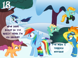 Size: 1024x768 | Tagged: safe, artist:bronybyexception, lightning dust, rainbow dash, scootaloo, soarin', spitfire, zephyr breeze, pegasus, pony, advent calendar, blank flank, christmas, clothes, dialogue, female, filly, holiday, male, mare, rainbow dash gets all the mares, rainbow dash gets all the stallions, rainbow socks, rainbow socks make everything sexy, socks, stallion, striped socks, wide eyes