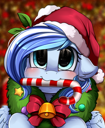 Size: 1446x1764 | Tagged: safe, artist:pridark, oc, oc only, oc:crystal bay, pegasus, pony, bell, blushing, candy, candy cane, christmas, commission, cute, food, hat, holiday, mouth hold, ocbetes, pridark's christmas ponies, santa hat, solo, wreath, ych result
