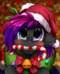 Size: 1446x1764 | Tagged: safe, artist:pridark, oc, oc:slipspace perigee, bat pony, pony, bat pony oc, bell, blushing, candy, candy cane, christmas, commission, cute, food, hat, heterochromia, holiday, mouth hold, ocbetes, pridark's christmas ponies, santa hat, solo, wreath, ych result