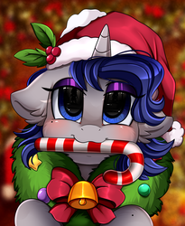 Size: 1446x1764 | Tagged: safe, artist:pridark, oc, oc:moonlit silver, pony, unicorn, bell, blushing, candy, candy cane, christmas, commission, cute, food, hat, holiday, mouth hold, ocbetes, pridark's christmas ponies, santa hat, solo, wreath, ych result