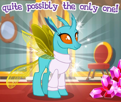 Size: 447x376 | Tagged: safe, idw, urtica, changedling, changeling, cropped, gameloft, gem, idw showified, meme, solo, wow! glimmer
