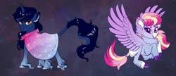 Size: 1024x444   Tagged: safe, artist:loryska, oc, oc only, oc:indigo sky, oc:ipomoea (loryska), pegasus, pony, unicorn, cloak, clothes, female, magical lesbian spawn, male, mare, offspring, parent:trixie, parent:twilight sparkle, parents:twixie, siblings, stallion