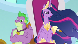 Size: 1280x720 | Tagged: safe, screencap, spike, twilight sparkle, alicorn, dragon, the last problem, spoiler:s09e26, claws, discussion in the comments, end of ponies, ethereal mane, female, it begins, jewelry, male, mare, older, older spike, older twilight, pony history, princess twilight 2.0, regalia, twilight sparkle (alicorn), winged spike
