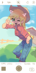Size: 566x1132   Tagged: safe, artist:ceitama, applejack, equestria girls, cat ears, cute, iphone, jackabetes, picture, pose, whiskers