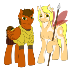 Size: 2576x2528 | Tagged: safe, artist:parallel black, oc, oc:blitz wind, oc:sparkfree, changeling, original species, pegasus, 2020 community collab, derpibooru community collaboration, armor, ascended changeling, duo, looking at you, male, simple background, spear, transparent background, weapon