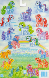 Size: 709x1119 | Tagged: safe, applejack (g1), bowtie (g1), cherries jubilee, firefly, glory, heart throb, lickety split, moondancer (g1), posey, powder, skyflier, surprise, tootsie, adoraprise, backcard, barcode, cute, dancerbetes, flyabetes, g1, glorybetes, heartthrobetes, jackabetes, official, poseybetes, story, tieabetes