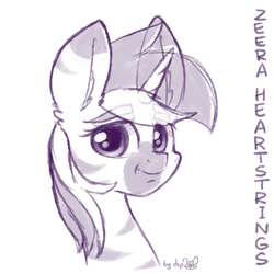 Size: 1024x1024 | Tagged: safe, artist:dsp2003, lyra heartstrings, pony, unicorn, zebra, zebracorn, bust, looking at you, monochrome, portrait, pun, signature, simple background, sketch, species swap, white background, zebrafied