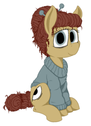 Size: 950x1315   Tagged: safe, alternate version, artist:thebathwaterhero, oc, oc:cellophane, earth pony, pony, clothes, hairpin, simple background, transparent background