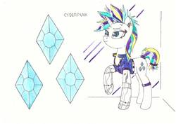 Size: 1280x906   Tagged: safe, artist:zocidem, rarity, cyborg, pony, unicorn, alternate hairstyle, augmented, clothes, crossover, cyberpunk, deus ex, drawing, female, punk, raripunk, solo, technology, traditional art
