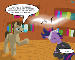Size: 600x480 | Tagged: safe, artist:quint-t-w, doctor whooves, time turner, twilight sparkle, earth pony, pony, unicorn, book, cracks in time, dialogue, doctor who, future twilight, golden oaks library, light skin, monster, old art, sonic screwdriver, tendrils