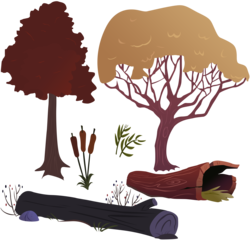Size: 3841x3701 | Tagged: safe, artist:boneswolbach, cattail, .ai available, .psd available, .svg available, background tree, log, no pony, plant, resource, simple background, transparent background, tree, vector