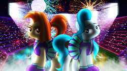 Size: 3840x2160 | Tagged: safe, artist:bastbrushie, artist:sonofaskywalker, lighthoof, shimmy shake, earth pony, pony, 80s, cute, light, lightorable, moon, night, pixel art, pom pom girl, shakeabetes, stade, stars, synthwave